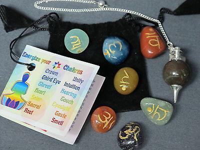 CHAKRA ENERGIZING 7 Stone Set w/ Pendulum - Reiki Crystal Gemstone Healing