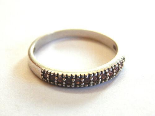 Vintage AVON Sterling Silver Band Ring Pink Rhinestones Stacking Ring Size 10