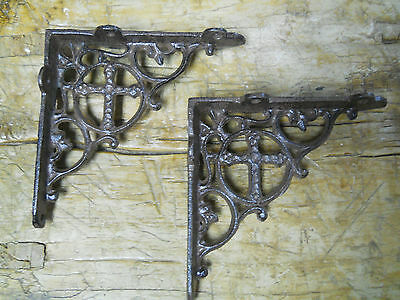 6 Cast Iron Antique Style CROSS Brackets, Garden Braces Shelf Bracket RUSTIC