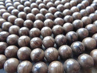 "COFFEE JASPER 8mm beads, 15"", approx 47"
