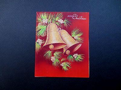 Vintage Unused Glitter Xmas Greeting Card Stunning Holiday Bells & Pine Cones