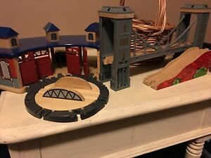 Wooden Train Set and Trains