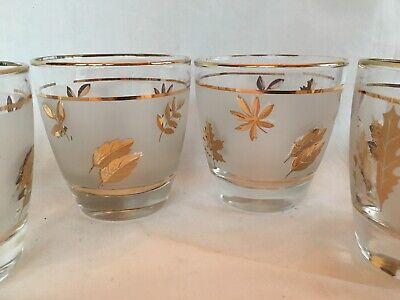 Vintage MCM Libbey Gold Rimmed Frosted Leaves Rocks Cocktail Bar Glasses Tumbler