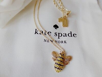 Authentic Kate Spade Picnic Perfect Pave Bee Mini Necklace 17''  K0113
