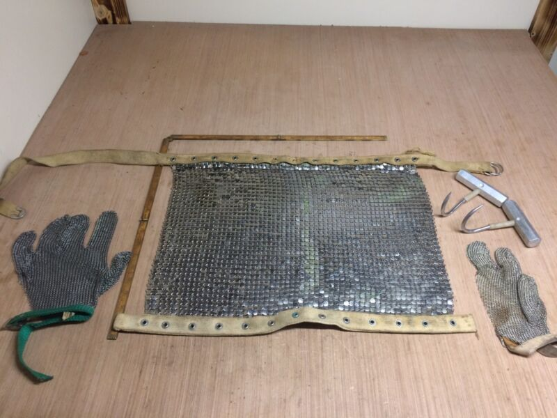 Vintage Meat Cutters Chainmaile Apron, Chainmaile Gloves And Meat Hooks