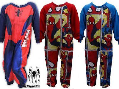 Boys MARVEL SPIDERMAN micro fleece onesie (not Gerber) navy blue  Ages 2 3 4 & 5 - Spiderman Onesies