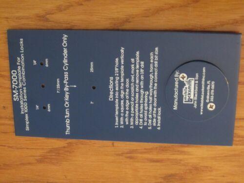 SM-7000 Installation Template For Simplex 1000 Series Combination Locks - METAL