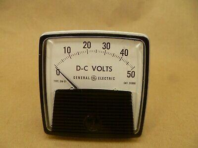 Vintage General Electric Dc Volt Meter 0-50 Volts Panel Volt Meter Analog