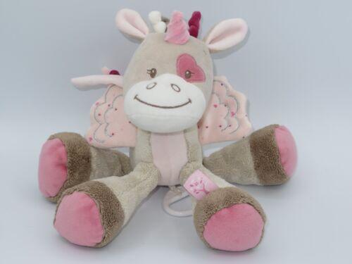 Nattou Nina Jade & Lili Jade the Unicorn Plush Musical Pull Toy Baby Lovey Pink