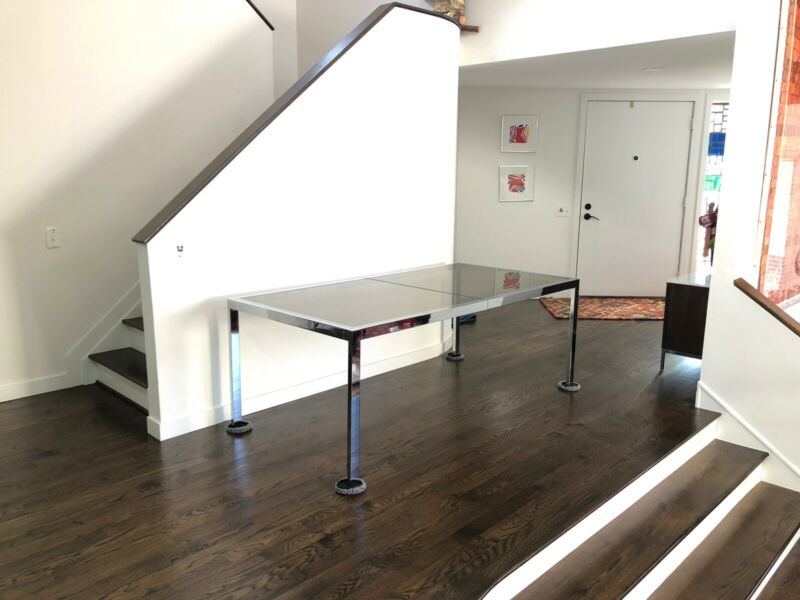 Mid Century Modern Chrome Dining Table In Style Of Milo Baughman