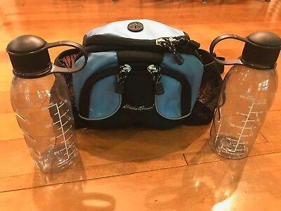 ATTN HIKERS! Eddie Bauer Large Nylon WaistPack/Daypack w/ 2 Water (Eddie Bauer Water Bottles)