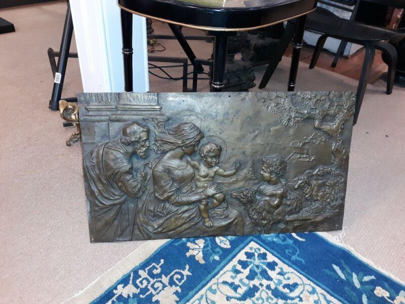 Antique Bronze Religious Sculpture Plaque