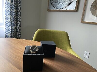 NEW! Marc By Marc Jacobs Baker Black Leather Band Black Dial Watch MBM1269