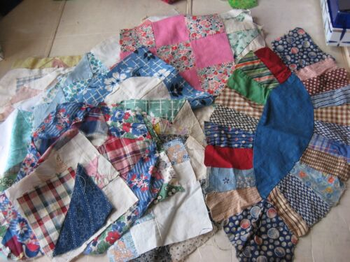 Lot of 27 Hand Stitched Quilt Blocks, Finished and Partials