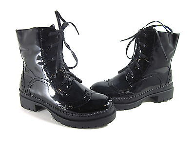 WANTED SHOES WOMEN'S HARPER ANKLE BOOTS BLACK PATENT SYNTHETIC US SIZE 8.5 MED