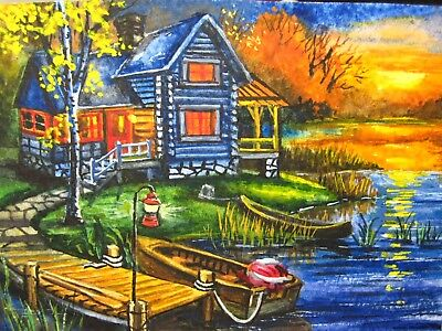 Painting Landscape Sunset Cabin House River Boat Country Forest Nature ACEO