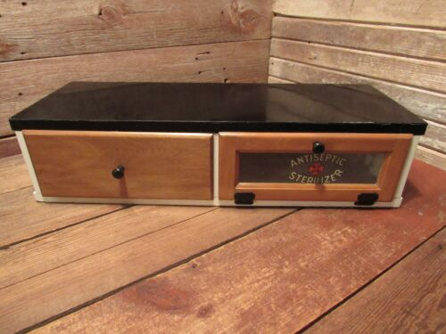 Vintage Wood Antiseptic Sterilizer Cabinet Medical Barber w/Glass Door & Drawer