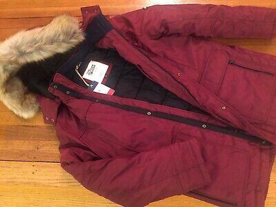 NWT Tommy Hilfiger LADIES Size L Hooded W/FUR Parka Winter Jacket MAROON 270$