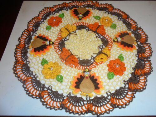 """New Hand Crochet Doily Fall/Thanksgiving Turkeys/Flowers/Butterflies 13"""""""