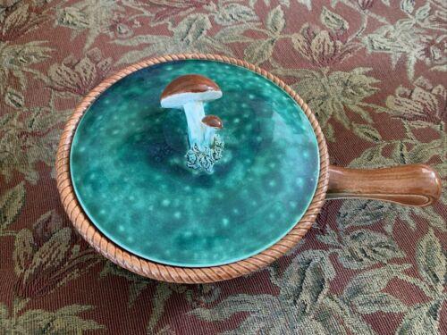 Vintage Belgium Tellurite Mushroom Covered Bowl, Green Basket, Bakeware, FREESHP
