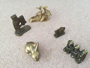 5 vintage brass animal ornament/figurines