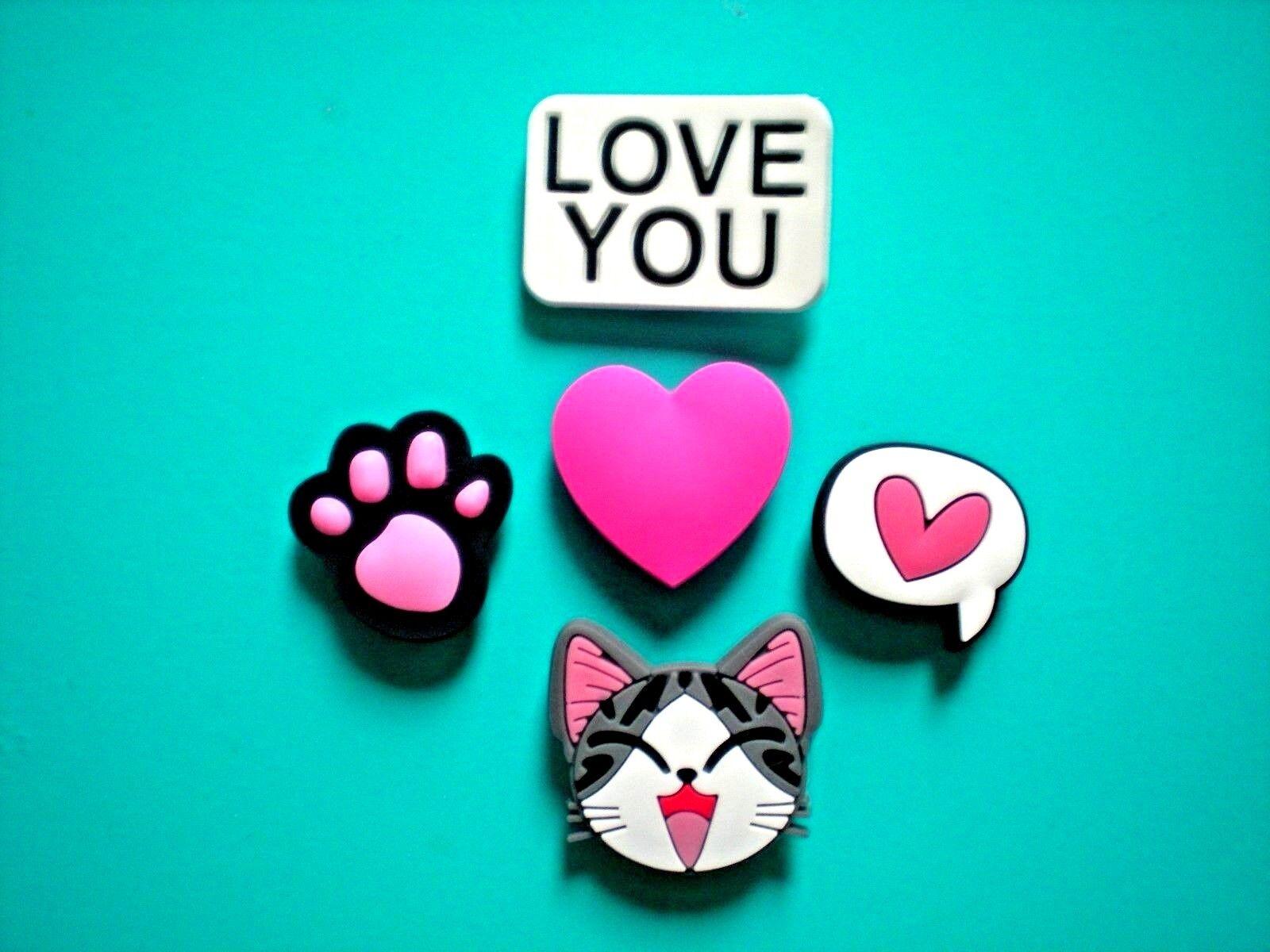 Clog Shoe Sandal Plug Button Charm For Jibbitz WristBand Kitty Cat Pink Paw