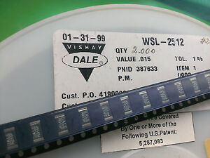 [50 pcs].Vishay-Dale WSL2512 1W SMD Resistor 0.015R ( 15mΩ ) 1% current sens. - <span itemprop=availableAtOrFrom>Warszawa, mazowieckie, Polska</span> - Zwroty są przyjmowane - Warszawa, mazowieckie, Polska