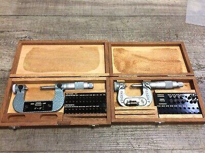 Nice Pair Of Tesa 0 - 1 1 - 2 Thread Anvil Micrometers