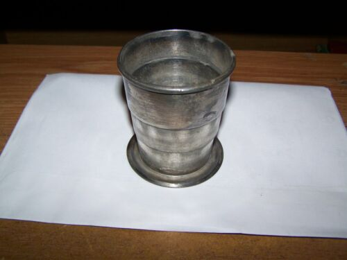 OLD FOLDING DRINKING CUP WITH SILVER PLATED