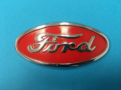Ford 8n Tractor Hood Emblem Chrome Red Original Factory Style 8n16600a