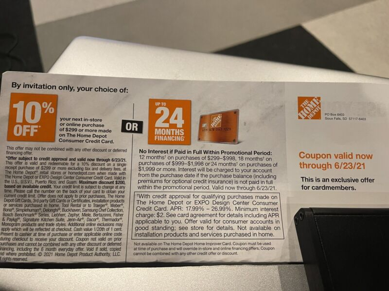Home Depot Coupon 10% Off In-Store or Online Exp 6/23/21