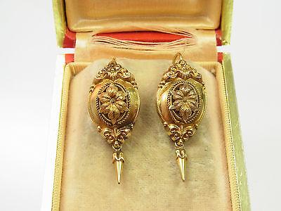 Antike Biedermeier Ohrringe 750 Rotgold florale Handarbeit um 1850