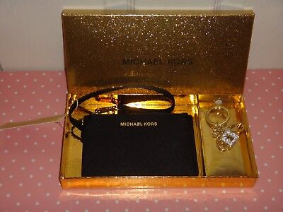 MICHAEL KORS 2-PC SET Women MK Black Saffiano Wristlet + Gold Charm Keychain+BOX