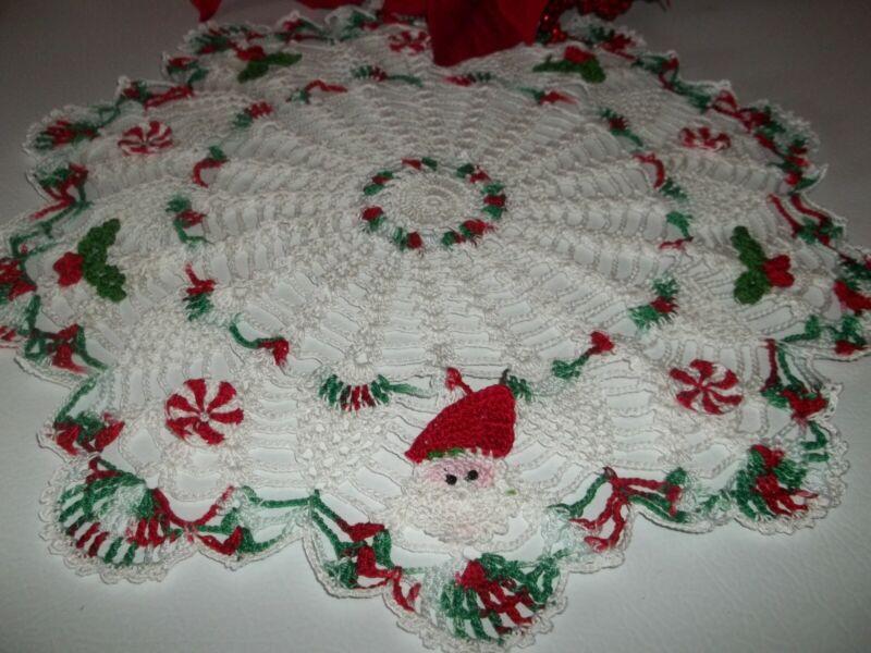 "New Hand Crochet Christmas Doily Santa Holly and Candy 14"""