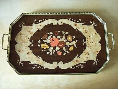 Large Vintage Italian Inlaid Wood & Metal Sorrento Serving Tray - FREE P&P