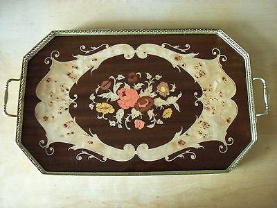 Large Vintage Italian Inlaid Wood & Metal Sorrento Serving Tray - FREE P&P