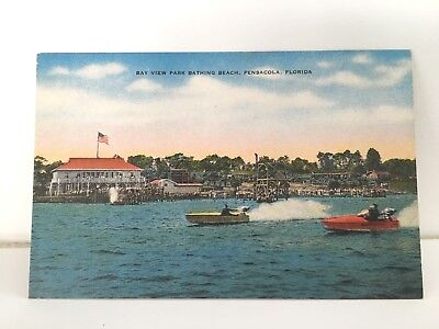 Bay View Park Bathing Beach Pensacola Florida FL speed boat racing race