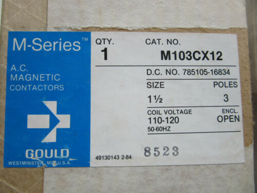 Gould M103CX12 Magnetic Contactor 3 Pole Size 1-1/2 Coil 120V NEW!!! in Box