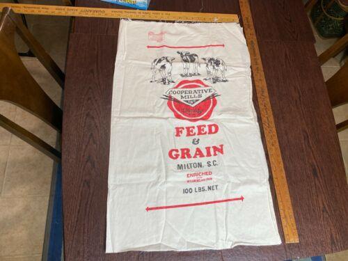 Vintage Unused Cooperative Mills Feed Flour Sack Fabric Bag Milton SC Weilwood