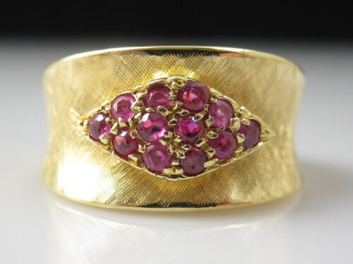 Ruby Ring 18K Yellow Gold Brushed Florentine Finish Wide Band Estate Retro