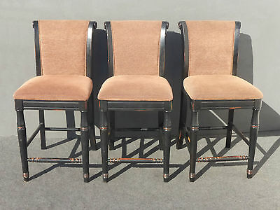 Three Black & Mauve Distressed BARSTOOLS BAR STOOLS by Sino-In Trading Co USA