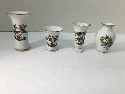 4 Herend China Small Vasrs 3 Rothschild Bird
