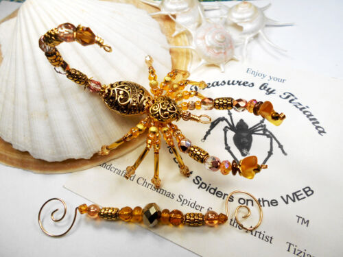 TreasuresbyTiziana® Christmas Beaded Gold Heart Scorpion Scorpio Ornament Gift