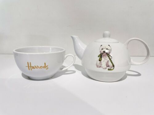Harrods Westie/West Highland White Terrier TEA FOR ONE 2 pieces tea set /white