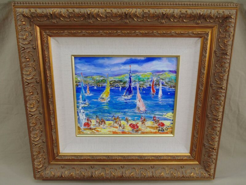 DUAIV AUX ILES HAND SIGNED ORIGINAL GICLEE OIL PAINTING ON CANVAS SAILBOATS