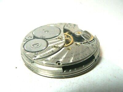 Vintage 1917 Elgin 12 Elgin Hunt Case Pocket Watch Movement,17 Jewels Adjusted