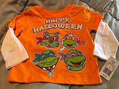 NWT Baby Toddler TMNT Ninja Turtles Long Sleeve Shirt Happy Halloween 18 Month](Happy Halloween Nickelodeon)