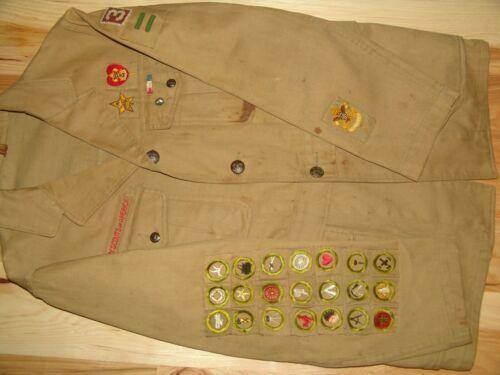 21 square merit badges on jacket - star & life patches -  eagle ribbon bar, pl,