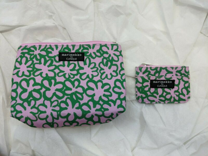 NWOT MARIMEKKO FOR CLINIQUE Make Up Bag Cosmetic Case MINI WALLET PINK GREEN