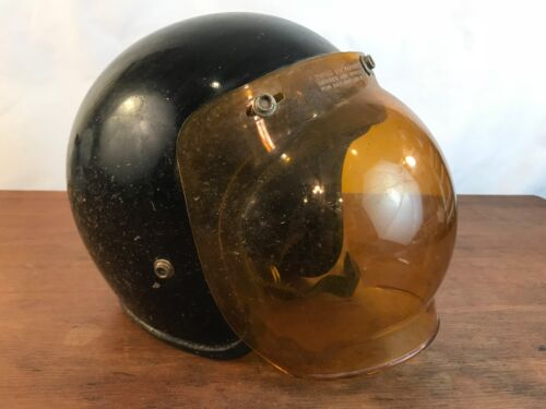 Vintage Distressed 1970s Motorcycle Helmet with Bubble Shield S/M (#A4)